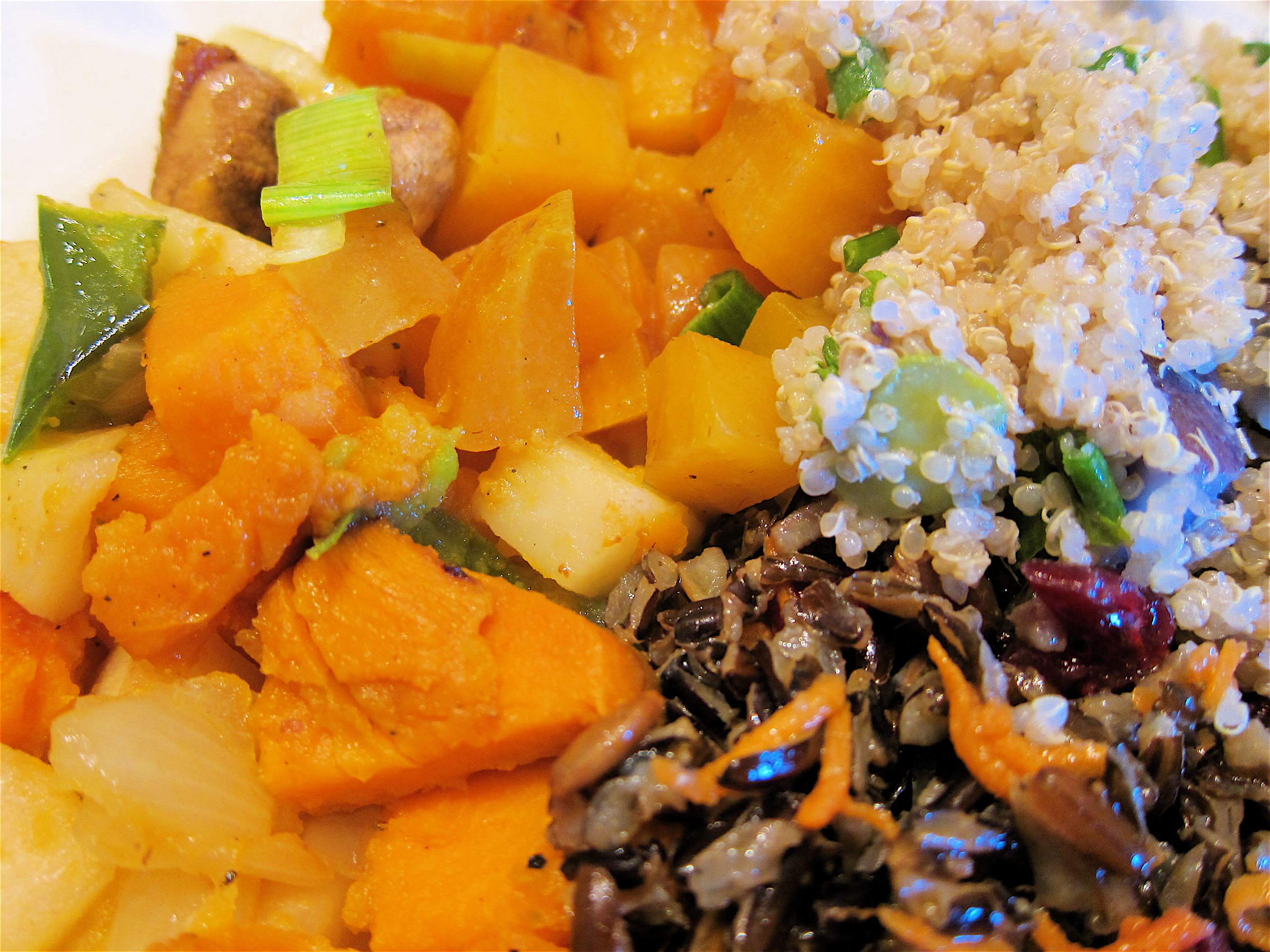 A Vegetable Trio of butternut squash, brown rice, quinoa with beets... YUMMY!