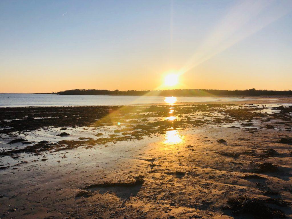 sunset over Crescent Beach in Cape Elizabeth Maine