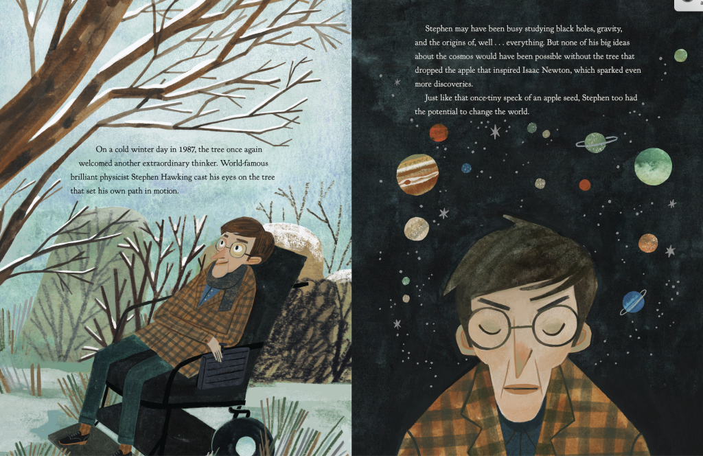 Stephen Hawking as Illustrated in picture book The Gravity Tree