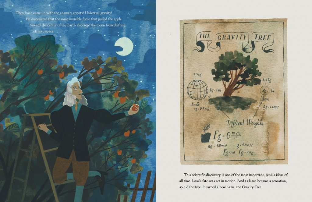 Illustrations from The Gravity Tree by Anna Crowley Redding and illustrated by Yas Immamura